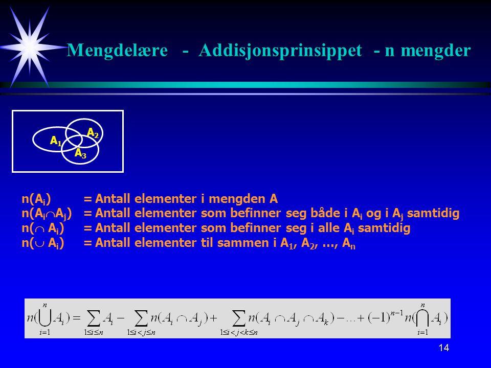 13 A B Mengdelære - Addisjonsprinsippet - 3 mengder n(A)=Antall elementer i mengden A n(B)=Antall elementer i mengden B n(C)=Antall elementer i mengde