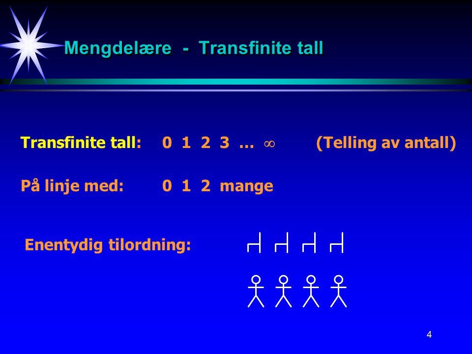 4 Mengdelære - Transfinite tall Transfinite tall:0 1 2 3 …  (Telling av antall) På linje med:0 1 2 mange Enentydig tilordning: