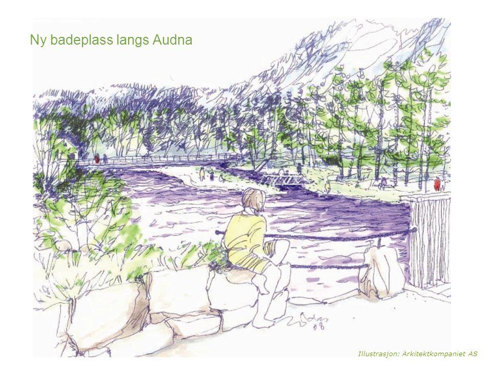 Illustrasjon: Arkitektkompaniet AS Ny badeplass langs Audna