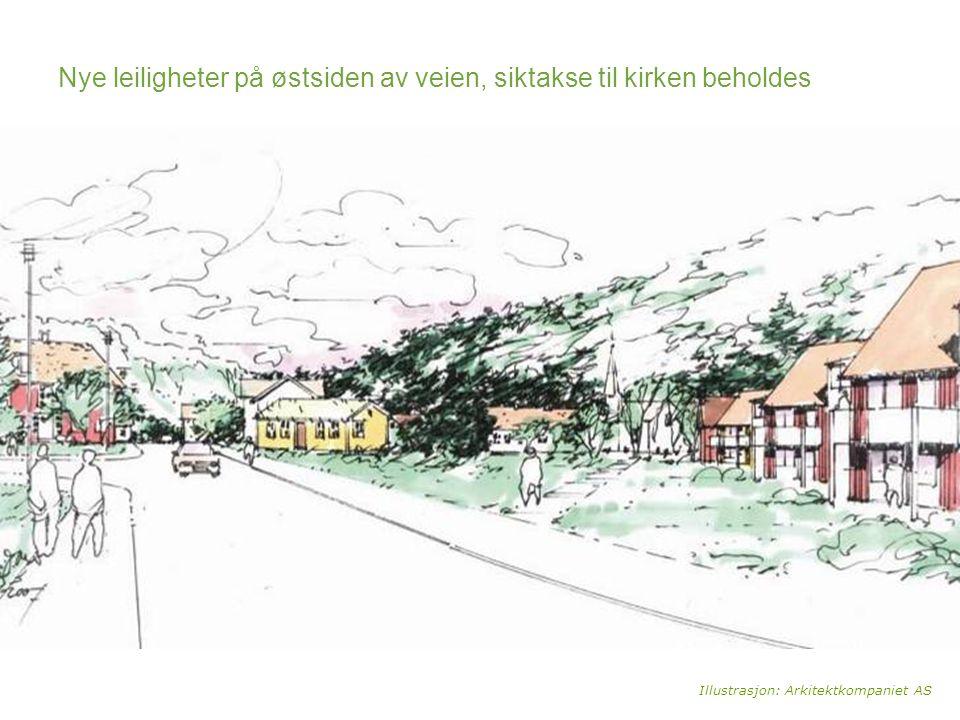Nye leiligheter på østsiden av veien, siktakse til kirken beholdes Illustrasjon: Arkitektkompaniet AS