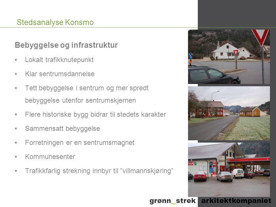 Stedsanalyse Konsmo Bebyggelse og infrastruktur •Lokalt trafikknutepunkt •Klar sentrumsdannelse •Tett bebyggelse i sentrum og mer spredt bebyggelse ut