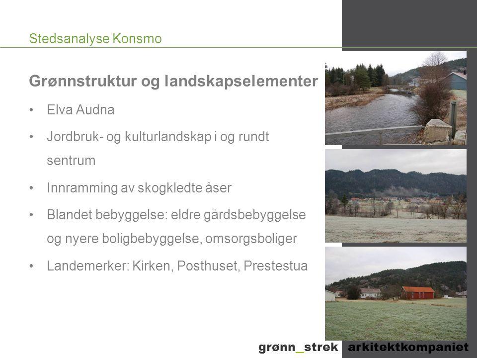 Stedsanalyse Konsmo Grønnstruktur og landskapselementer •Elva Audna •Jordbruk- og kulturlandskap i og rundt sentrum •Innramming av skogkledte åser •Bl