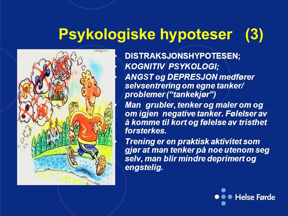 """Psykologiske hypoteser (3) •DISTRAKSJONSHYPOTESEN; •KOGNITIV PSYKOLOGI; •ANGST og DEPRESJON medfører selvsentrering om egne tanker/ problemer (""""tankek"""