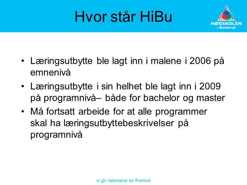 Hvor står HiBu •Læringsutbytte ble lagt inn i malene i 2006 på emnenivå •Læringsutbytte i sin helhet ble lagt inn i 2009 på programnivå– både for bach