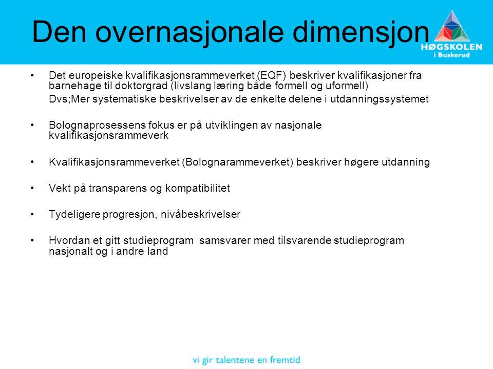 Den overnasjonale dimensjon •Det europeiske kvalifikasjonsrammeverket (EQF) beskriver kvalifikasjoner fra barnehage til doktorgrad (livslang læring bå