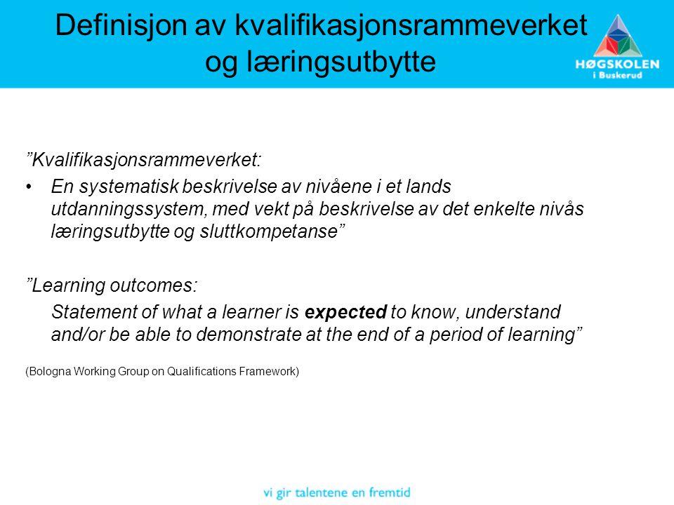 """Definisjon av kvalifikasjonsrammeverket og læringsutbytte """"Kvalifikasjonsrammeverket: •En systematisk beskrivelse av nivåene i et lands utdanningssyst"""