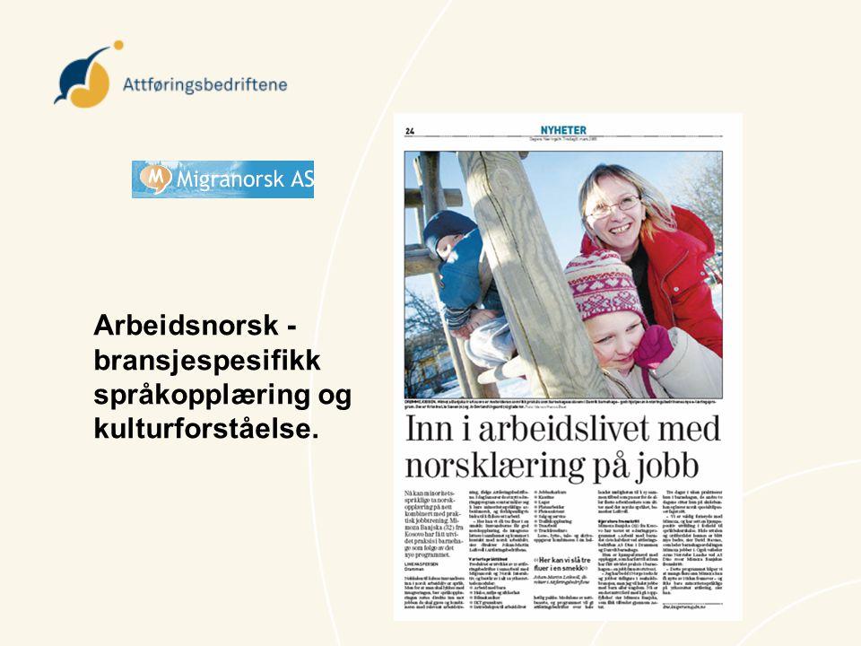 Arbeidsnorsk - bransjespesifikk språkopplæring og kulturforståelse.