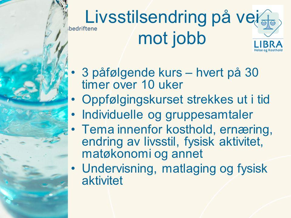 Livsstilsendring på vei mot jobb •3 påfølgende kurs – hvert på 30 timer over 10 uker •Oppfølgingskurset strekkes ut i tid •Individuelle og gruppesamta