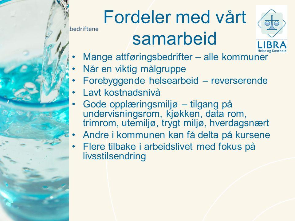 Fordeler med vårt samarbeid •Mange attføringsbedrifter – alle kommuner •Når en viktig målgruppe •Forebyggende helsearbeid – reverserende •Lavt kostnad