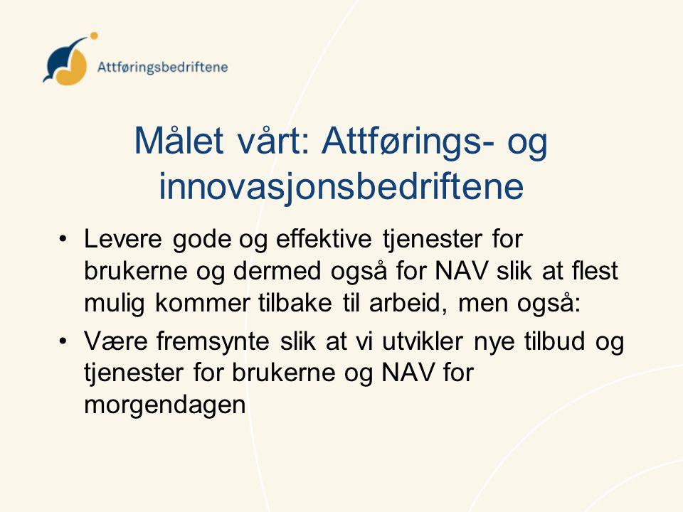 Målet vårt: Attførings- og innovasjonsbedriftene •Levere gode og effektive tjenester for brukerne og dermed også for NAV slik at flest mulig kommer ti