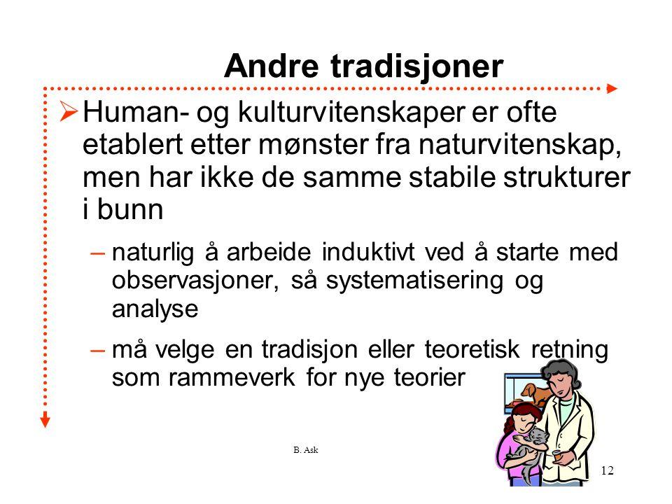 B. Ask 12 Andre tradisjoner  Human- og kulturvitenskaper er ofte etablert etter mønster fra naturvitenskap, men har ikke de samme stabile strukturer