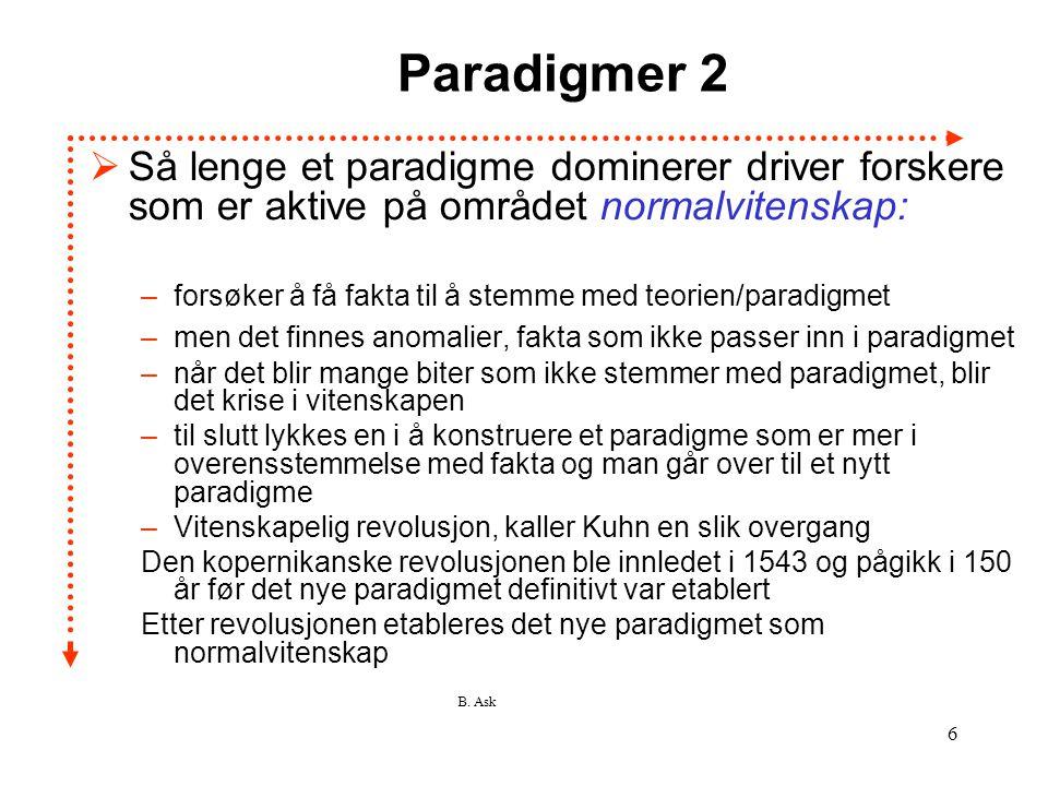 B. Ask 6 Paradigmer 2  Så lenge et paradigme dominerer driver forskere som er aktive på området normalvitenskap: –forsøker å få fakta til å stemme me