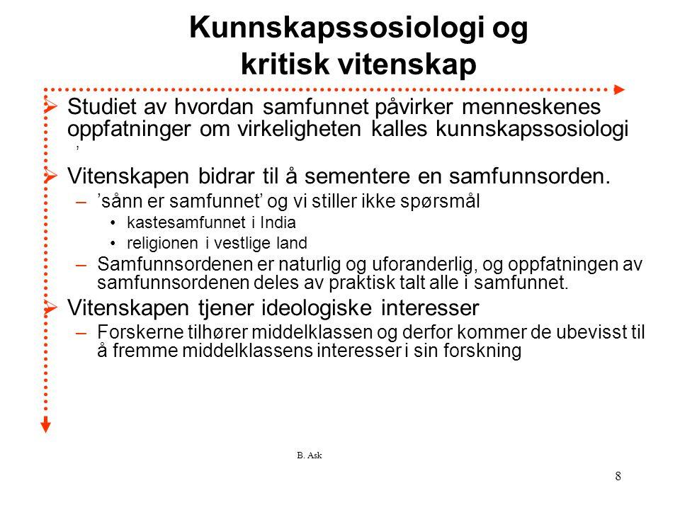 B. Ask 8 Kunnskapssosiologi og kritisk vitenskap  Studiet av hvordan samfunnet påvirker menneskenes oppfatninger om virkeligheten kalles kunnskapssos