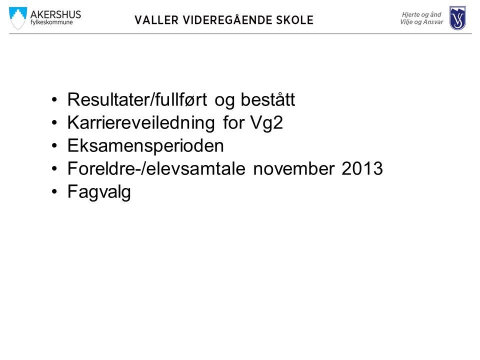 •Resultater/fullført og bestått •Karriereveiledning for Vg2 •Eksamensperioden •Foreldre-/elevsamtale november 2013 •Fagvalg