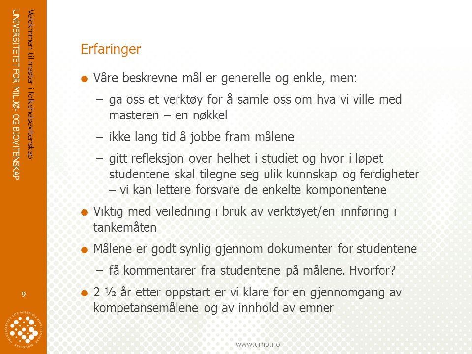 UNIVERSITETET FOR MILJØ- OG BIOVITENSKAP www.umb.no Erfaringer  Våre beskrevne mål er generelle og enkle, men: –ga oss et verktøy for å samle oss om