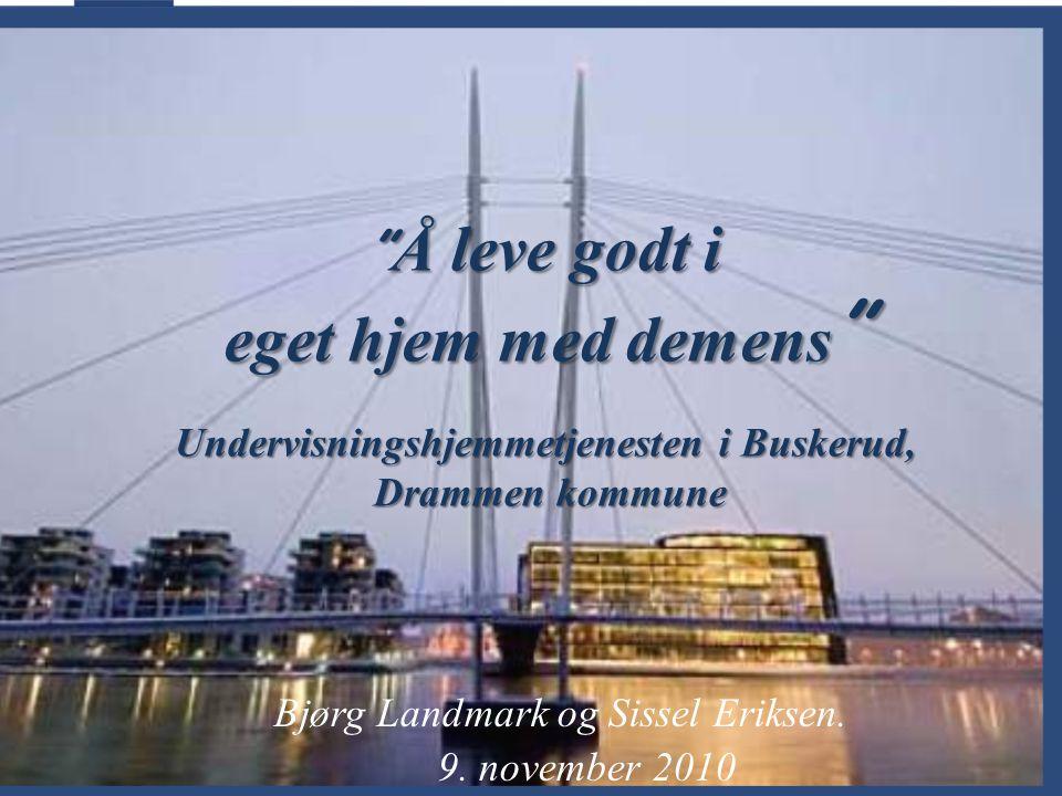 """Bjørg Landmark og Sissel Eriksen. 9. november 2010 """" Å leve godt i eget hjem med demens """" Undervisningshjemmetjenesten i Buskerud, Drammen kommune Dra"""