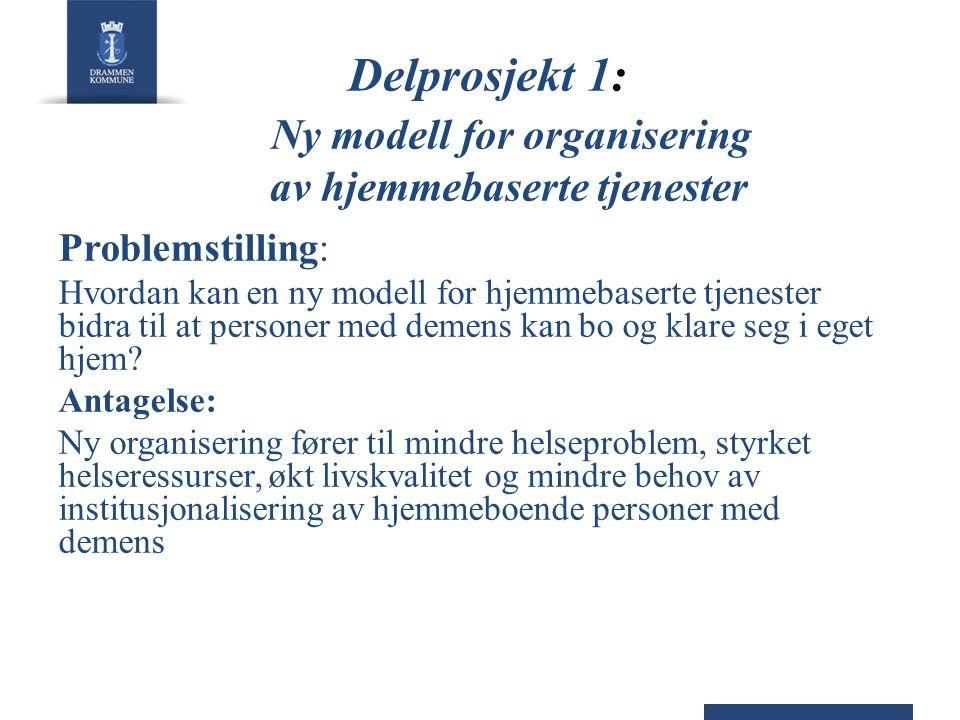Delprosjekt 1: Ny modell for organisering av hjemmebaserte tjenester Problemstilling: Hvordan kan en ny modell for hjemmebaserte tjenester bidra til a