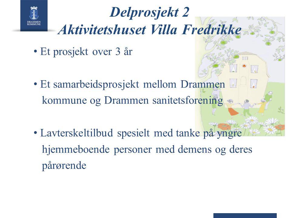 Delprosjekt 2 Aktivitetshuset Villa Fredrikke • Et prosjekt over 3 år • Et samarbeidsprosjekt mellom Drammen kommune og Drammen sanitetsforening • Lav