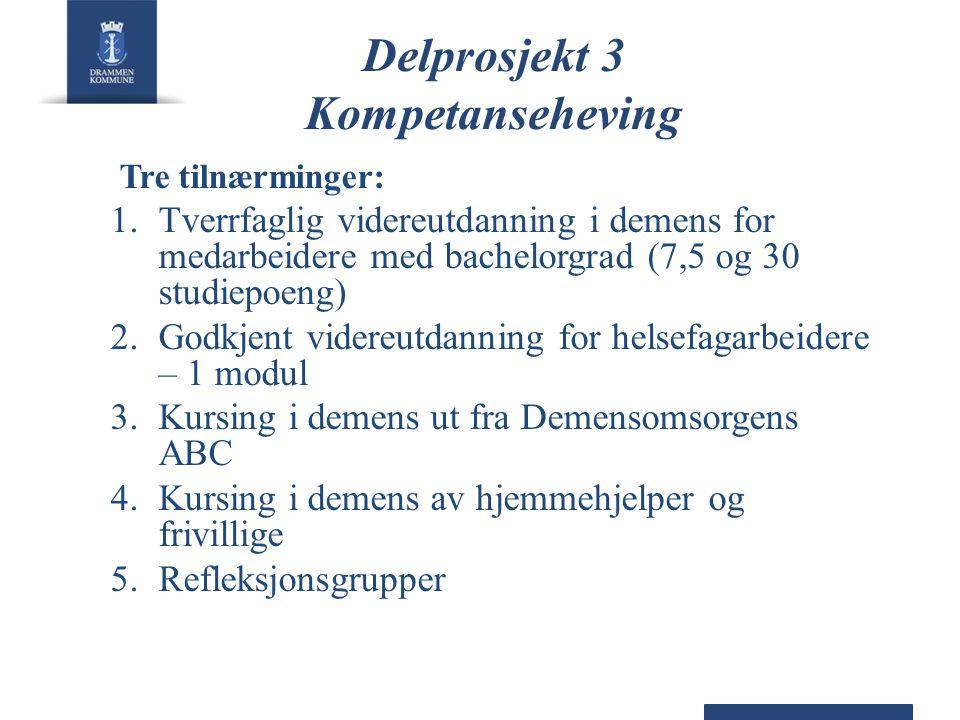 Delprosjekt 3 Kompetanseheving Tre tilnærminger: 1.Tverrfaglig videreutdanning i demens for medarbeidere med bachelorgrad (7,5 og 30 studiepoeng) 2.Go