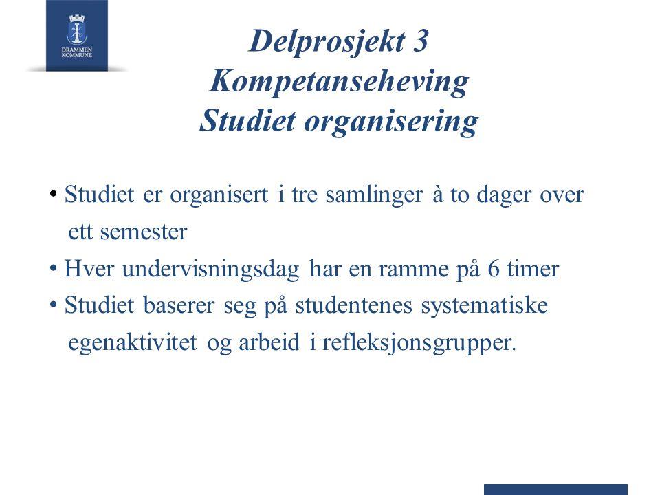 Delprosjekt 3 Kompetanseheving Studiet organisering • Studiet er organisert i tre samlinger à to dager over ett semester • Hver undervisningsdag har e