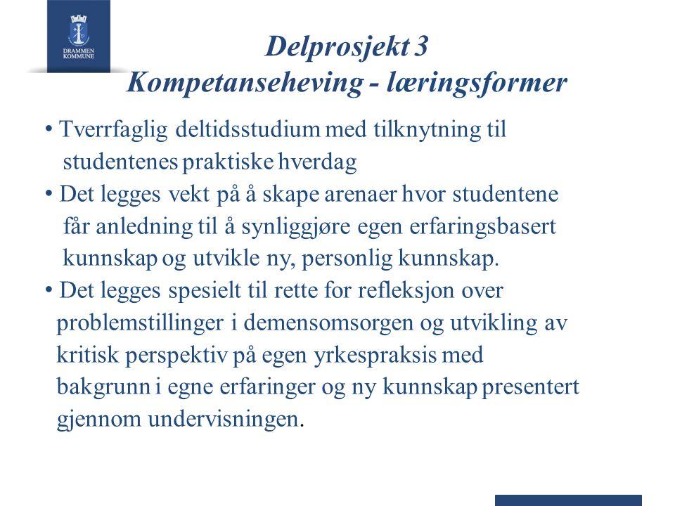 Delprosjekt 3 Kompetanseheving - læringsformer • Tverrfaglig deltidsstudium med tilknytning til studentenes praktiske hverdag • Det legges vekt på å s