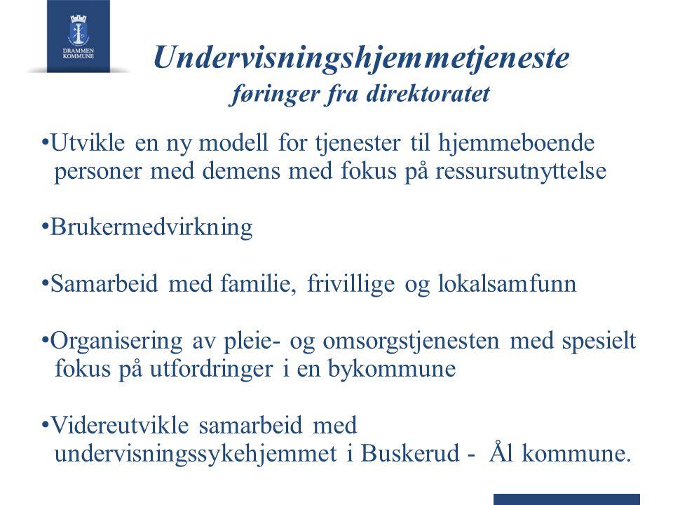 Undervisningshjemmetjeneste føringer fra direktoratet • Utvikle en ny modell for tjenester til hjemmeboende personer med demens med fokus på ressursut