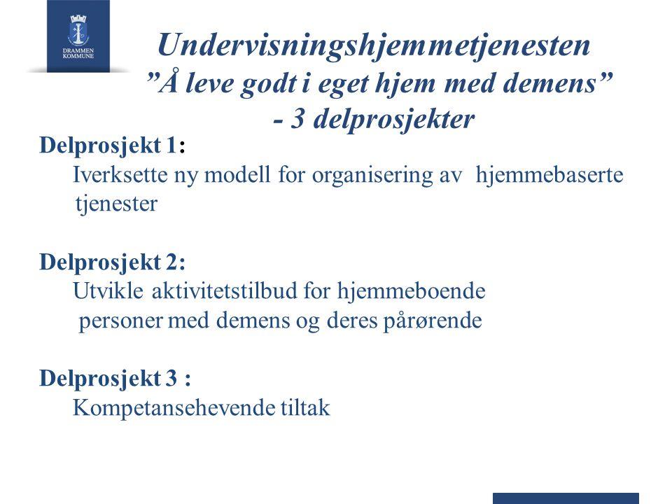 """Undervisningshjemmetjenesten """"Å leve godt i eget hjem med demens"""" - 3 delprosjekter Delprosjekt 1: Iverksette ny modell for organisering av hjemmebase"""