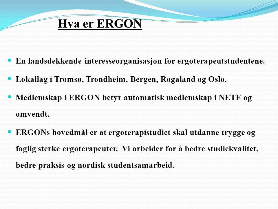 Hva er ERGON  En landsdekkende interesseorganisasjon for ergoterapeutstudentene.