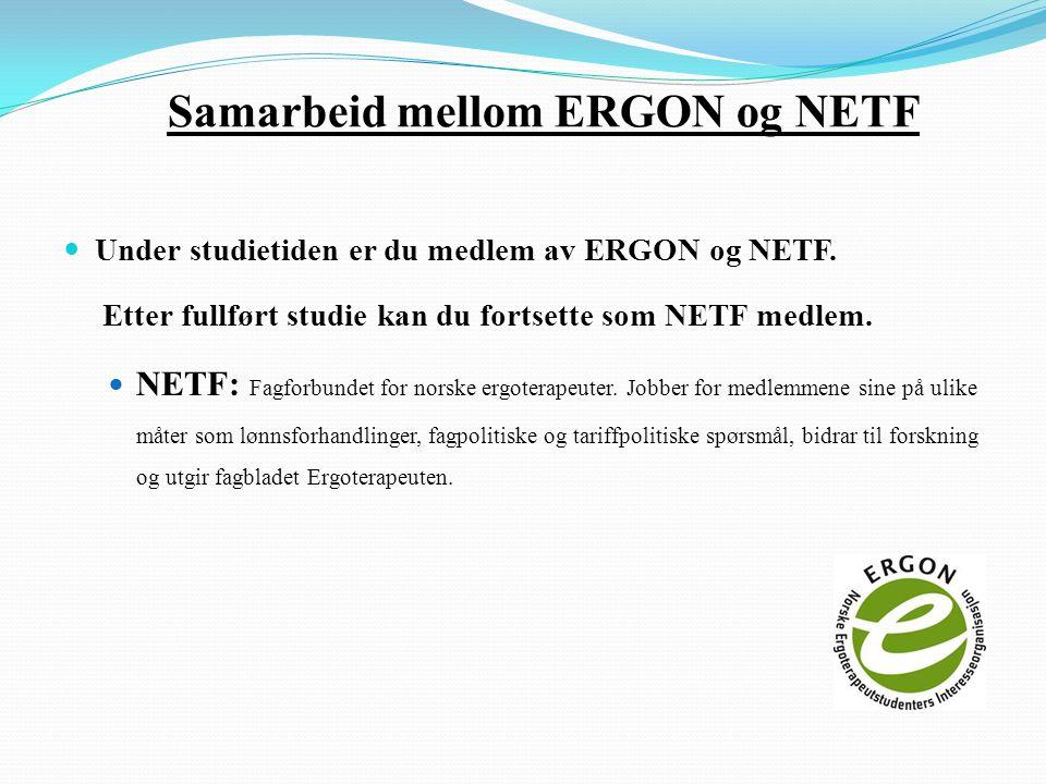 Samarbeid mellom ERGON og NETF  Under studietiden er du medlem av ERGON og NETF.