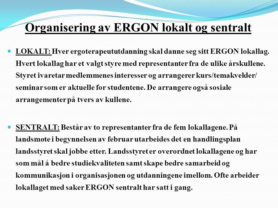 Organisering av ERGON lokalt og sentralt  LOKALT: Hver ergoterapeututdanning skal danne seg sitt ERGON lokallag.