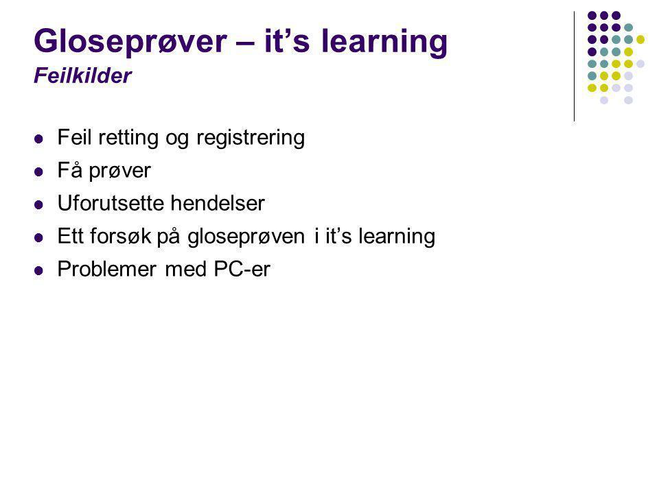 Gloseprøver – it's learning Feilkilder  Feil retting og registrering  Få prøver  Uforutsette hendelser  Ett forsøk på gloseprøven i it's learning