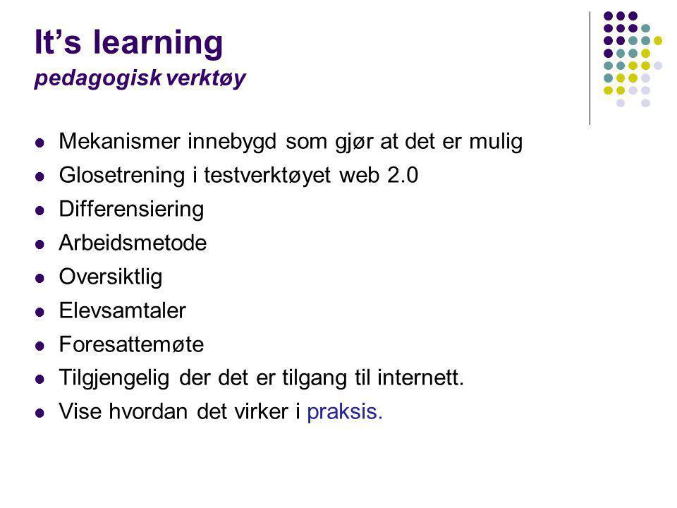 It's learning pedagogisk verktøy  Mekanismer innebygd som gjør at det er mulig  Glosetrening i testverktøyet web 2.0  Differensiering  Arbeidsmeto