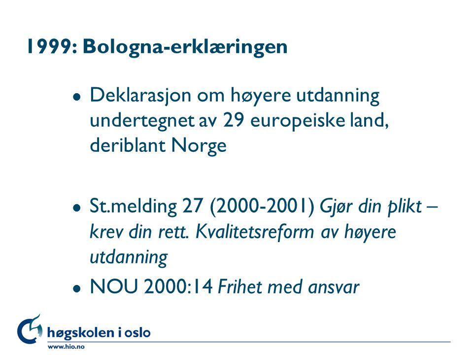 1999: Bologna-erklæringen l Deklarasjon om høyere utdanning undertegnet av 29 europeiske land, deriblant Norge l St.melding 27 (2000-2001) Gjør din plikt – krev din rett.