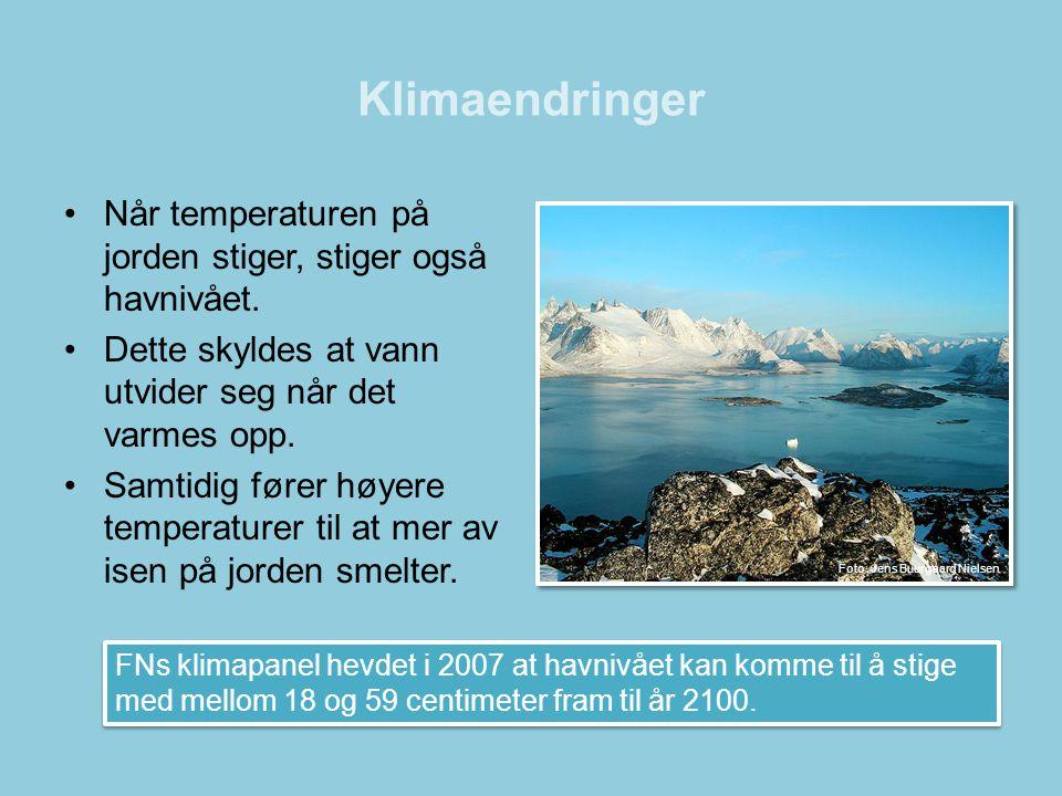 Klimaendringer •Når temperaturen på jorden stiger, stiger også havnivået. •Dette skyldes at vann utvider seg når det varmes opp. •Samtidig fører høyer