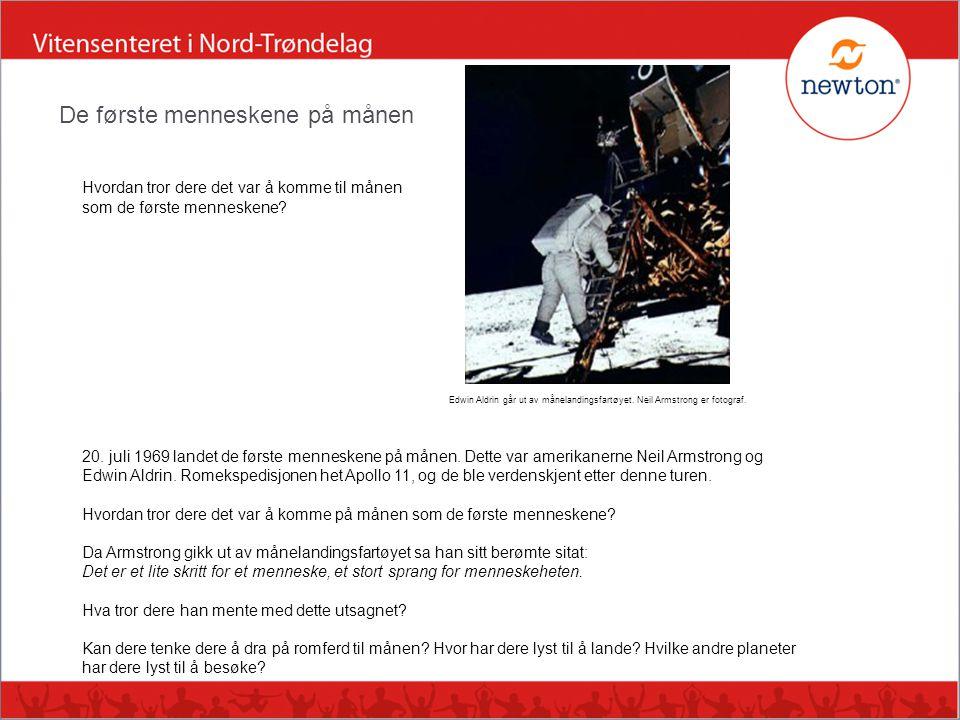 Hvordan tror dere det var å komme til månen som de første menneskene? Edwin Aldrin går ut av månelandingsfartøyet. Neil Armstrong er fotograf. 20. jul
