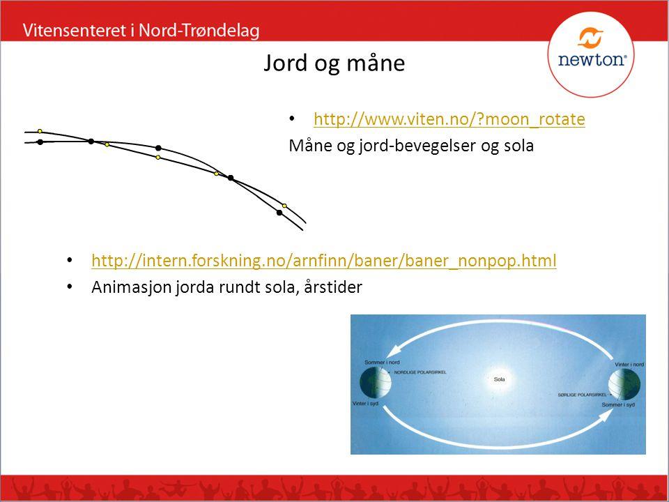 Jord og måne • http://www.viten.no/?moon_rotate http://www.viten.no/?moon_rotate Måne og jord-bevegelser og sola • http://intern.forskning.no/arnfinn/
