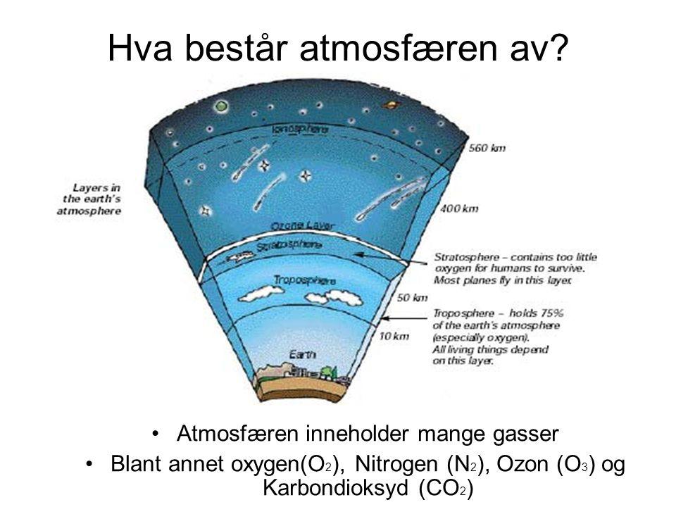 Hva består atmosfæren av? •Atmosfæren inneholder mange gasser •Blant annet oxygen(O 2 ), Nitrogen (N 2 ), Ozon (O 3 ) og Karbondioksyd (CO 2 )