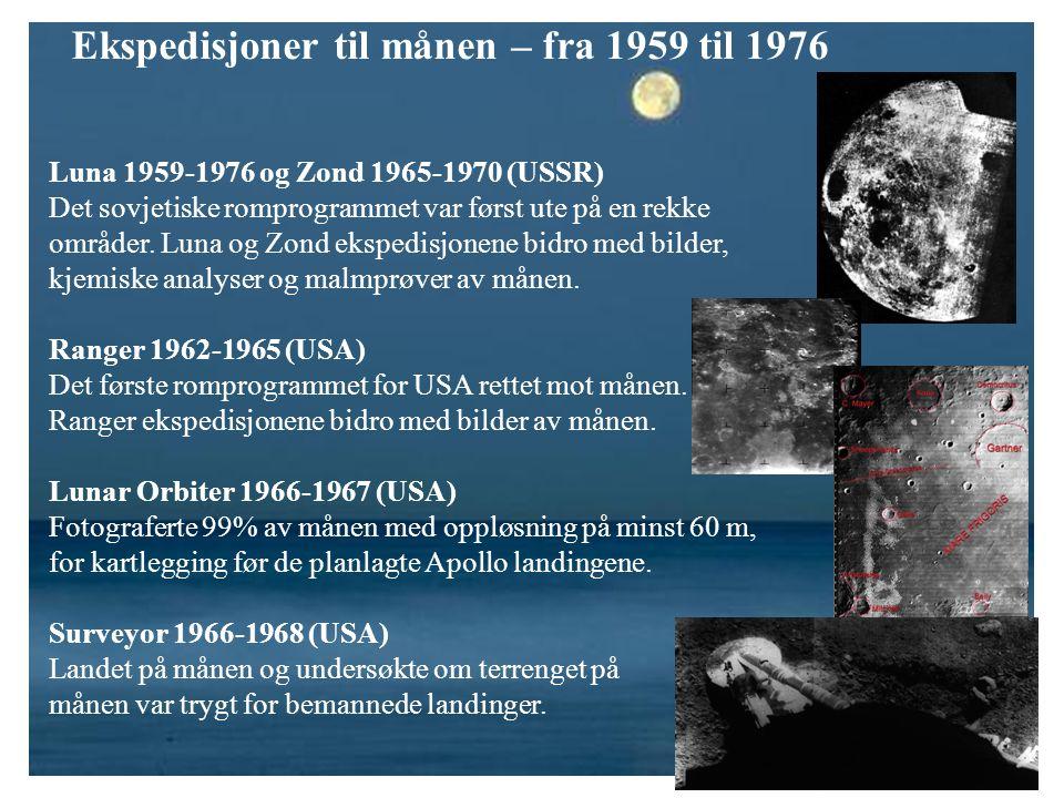 Ekspedisjoner til månen – fra 1959 til 1976 Luna 1959-1976 og Zond 1965-1970 (USSR) Det sovjetiske romprogrammet var først ute på en rekke områder. Lu