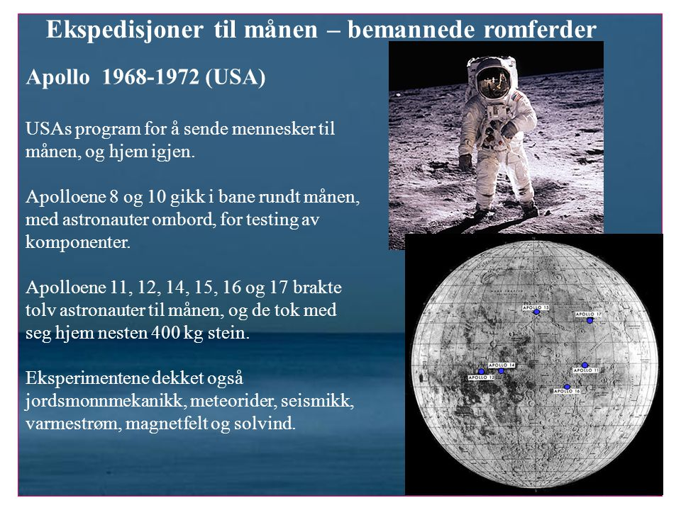 Ekspedisjoner til månen – bemannede romferder Apollo 1968-1972 (USA) USAs program for å sende mennesker til månen, og hjem igjen. Apolloene 8 og 10 gi