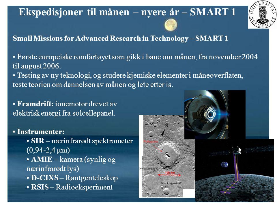 Ekspedisjoner til månen – nyere år – SMART 1 Small Missions for Advanced Research in Technology – SMART 1 • Første europeiske romfartøyet som gikk i b