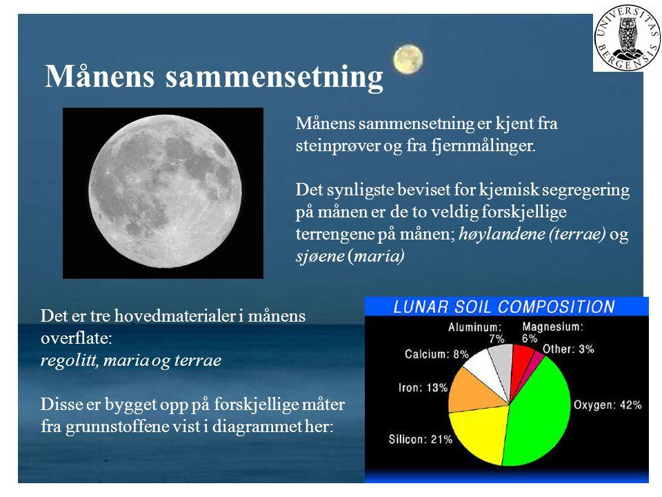 Månens sammensetning Månens sammensetning er kjent fra steinprøver og fra fjernmålinger. Det synligste beviset for kjemisk segregering på månen er de