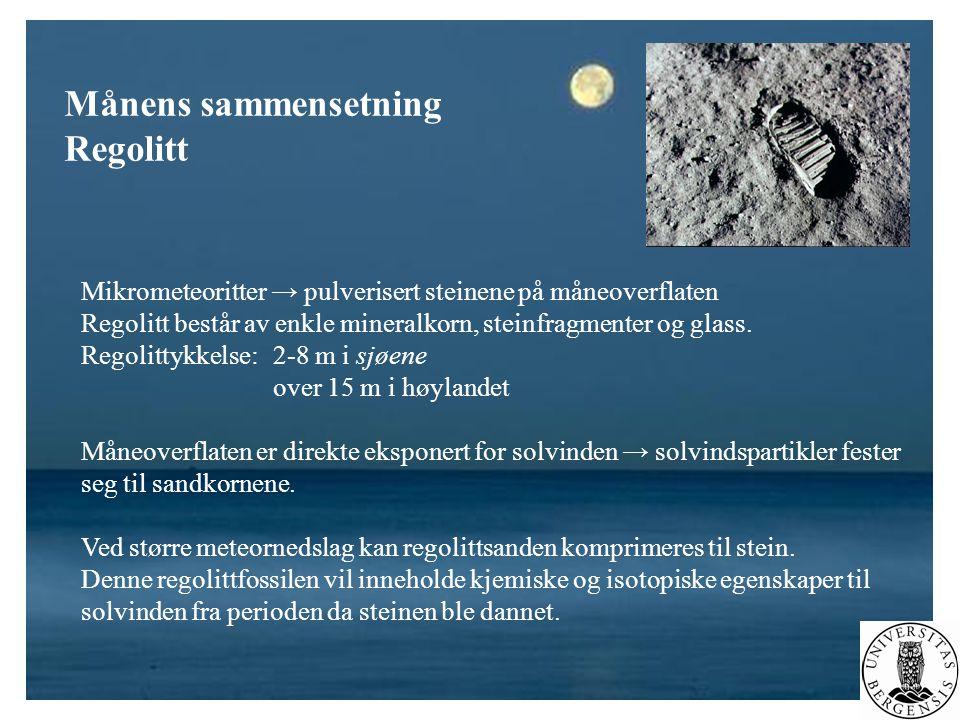 Månens sammensetning Regolitt Mikrometeoritter → pulverisert steinene på måneoverflaten Regolitt består av enkle mineralkorn, steinfragmenter og glass