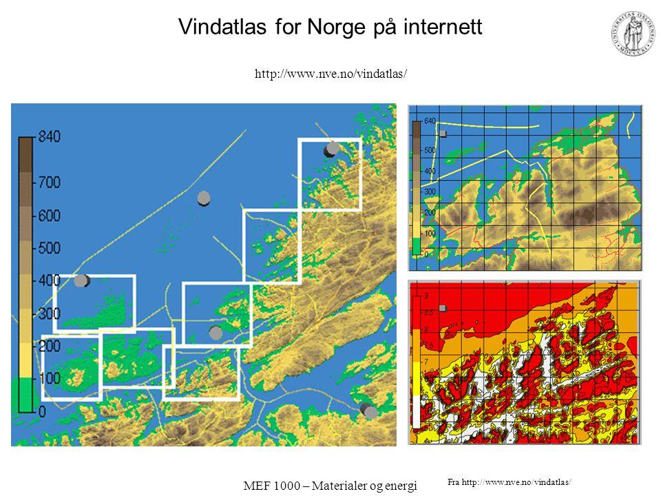 MEF 1000 – Materialer og energi Vindatlas for Norge på internett http://www.nve.no/vindatlas/ Fra http://www.nve.no/vindatlas/