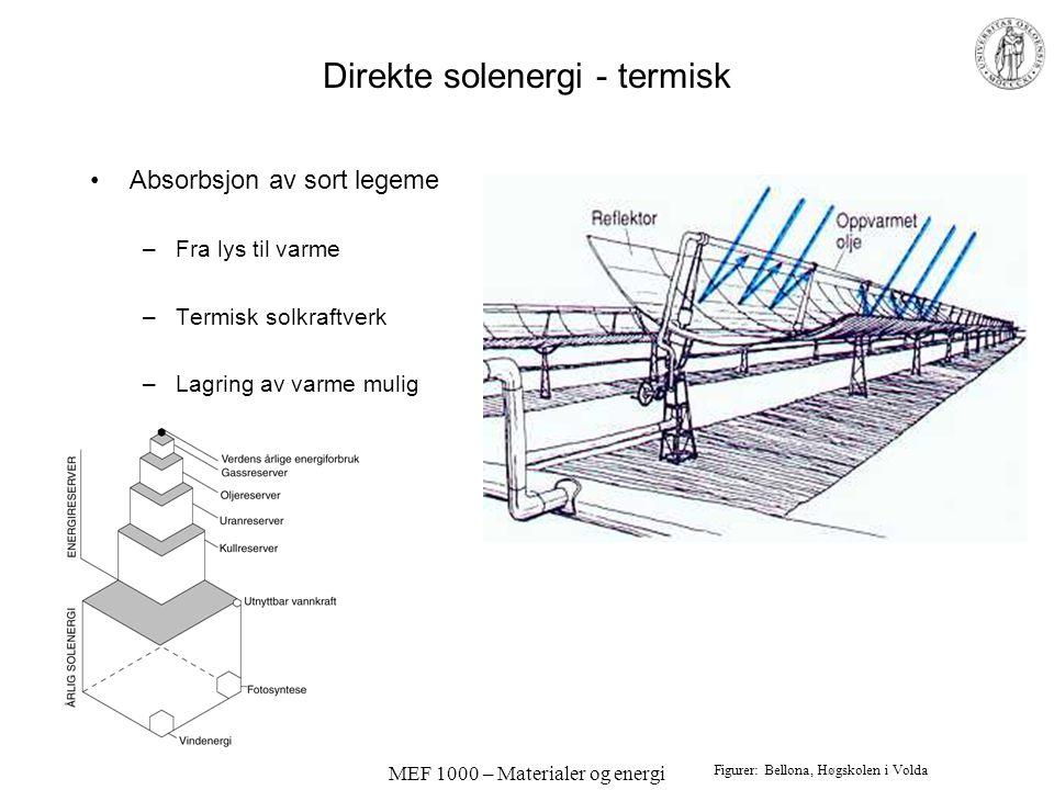 MEF 1000 – Materialer og energi Direkte solenergi - termisk •Absorbsjon av sort legeme –Fra lys til varme –Termisk solkraftverk –Lagring av varme mulig Figurer: Bellona, Høgskolen i Volda