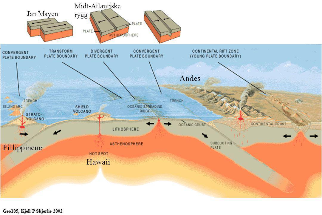 Hawaii Fillippinene Andes Jan Mayen Midt-Atlantiske rygg Geo105, Kjell P Skjerlie 2002