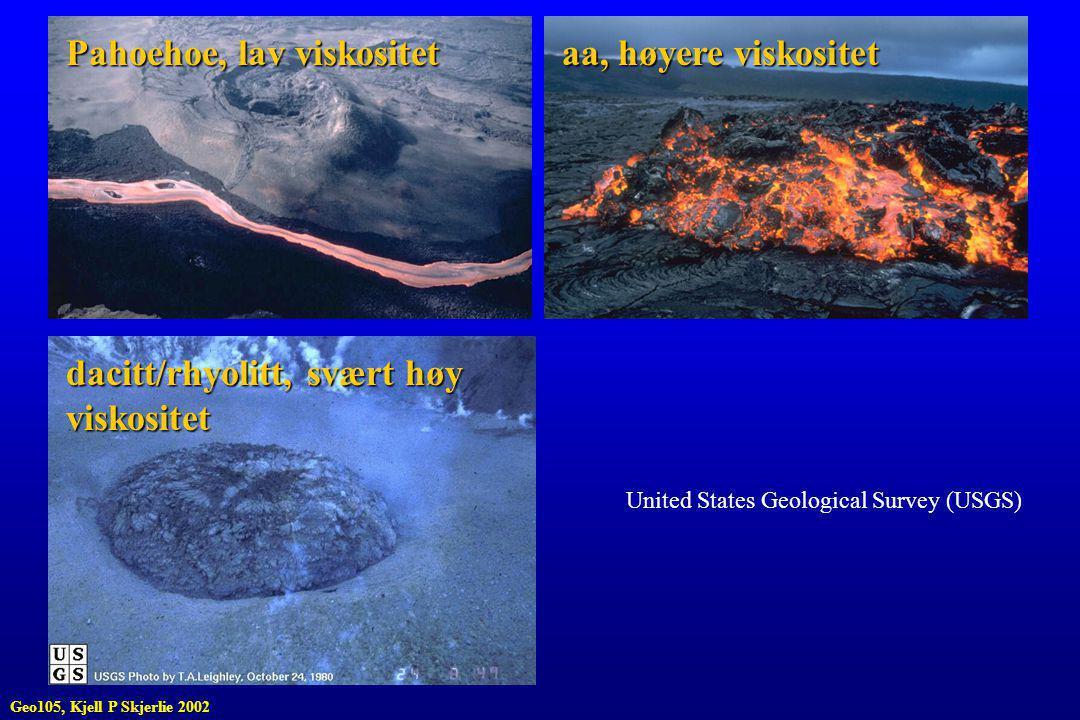 Pahoehoe, lav viskositet aa, høyere viskositet dacitt/rhyolitt, svært høy viskositet United States Geological Survey (USGS) Geo105, Kjell P Skjerlie 2002