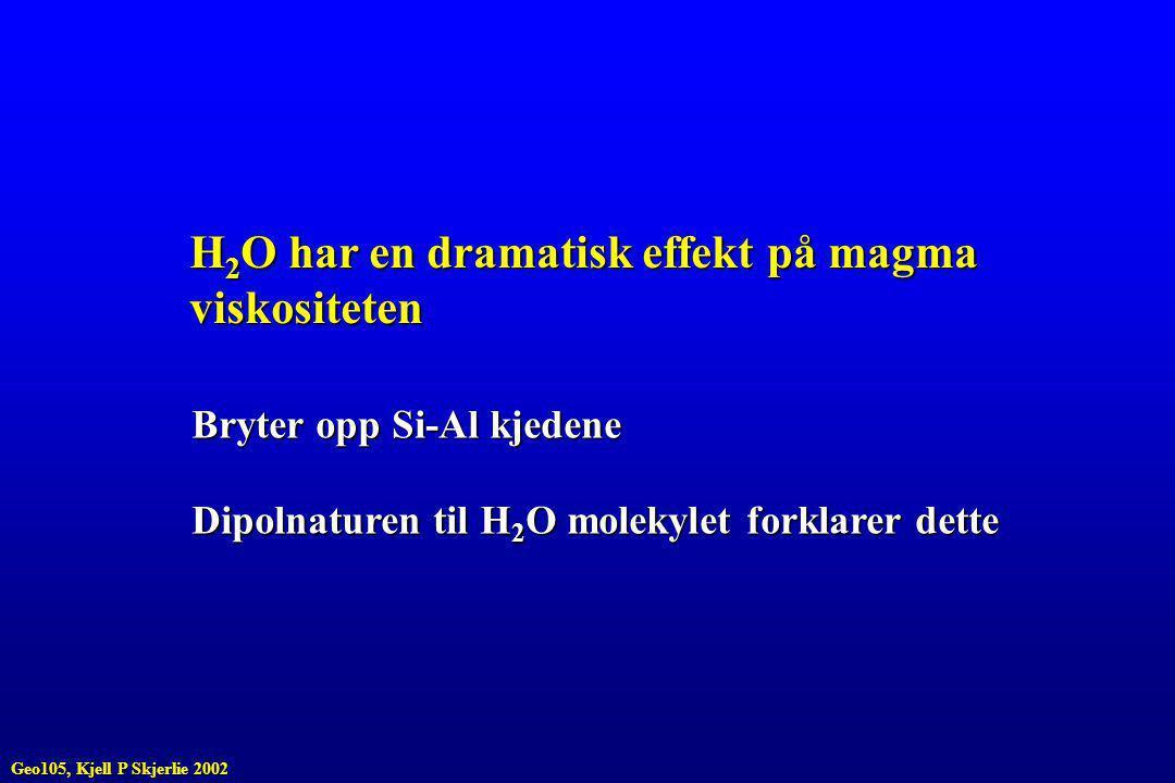 H 2 O har en dramatisk effekt på magma viskositeten Bryter opp Si-Al kjedene Dipolnaturen til H 2 O molekylet forklarer dette Geo105, Kjell P Skjerlie 2002