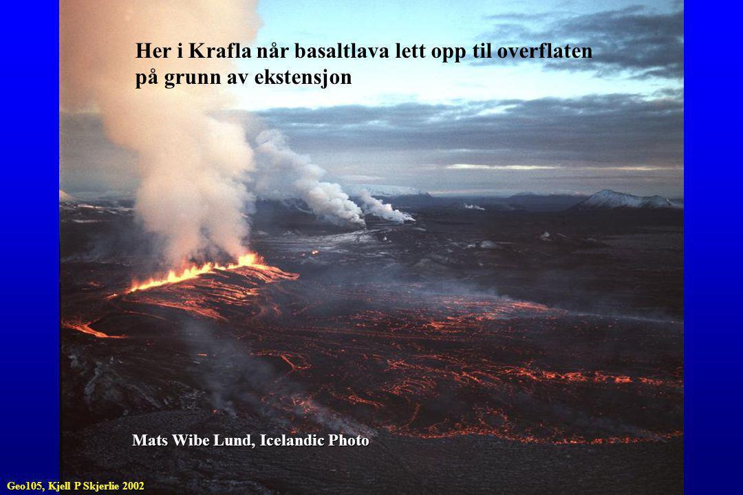 Her i Krafla når basaltlava lett opp til overflaten på grunn av ekstensjon Mats Wibe Lund, Icelandic Photo Geo105, Kjell P Skjerlie 2002