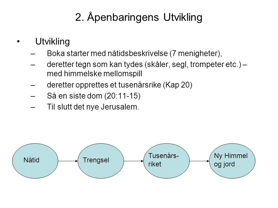 2. Åpenbaringens Utvikling •Utvikling –Boka starter med nåtidsbeskrivelse (7 menigheter), –deretter tegn som kan tydes (skåler, segl, trompeter etc.)