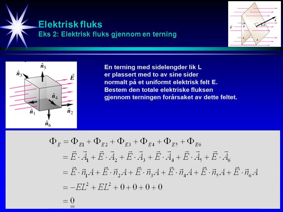 Elektrisk fluks Eks 2: Elektrisk fluks gjennom en terning En terning med sidelengder lik L er plassert med to av sine sider normalt på et uniformt elektrisk felt E.